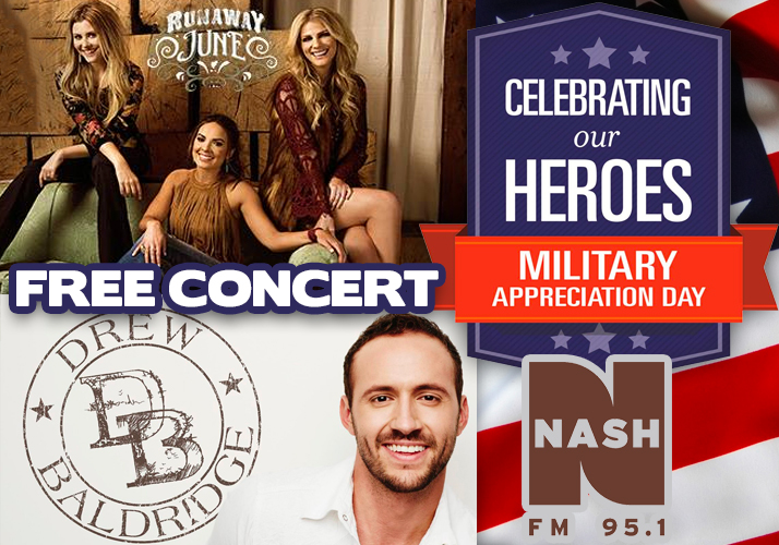 """Wednesday June 14th is Military Appreciation Day (Flag Day) with live performances by national country recording artists """"Runaway June"""" and """"Drew Baldridge"""" and a military discount all day wrist band to the carnival."""